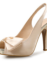 cheap -Women's Sandals Stiletto Heel Peep Toe Bowknot Satin Sweet Summer Almond / Black