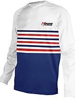 cheap -21Grams Men's Long Sleeve Cycling Jersey Downhill Jersey Dirt Bike Jersey 100% Polyester Blue / White Stripes Bike Jersey Top Mountain Bike MTB Road Bike Cycling UV Resistant Breathable Quick Dry