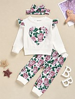 cheap -Baby Girls' Street chic Floral Long Sleeve Regular Clothing Set White