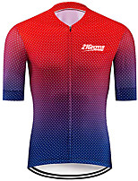 cheap -21Grams Men's Short Sleeve Cycling Jersey 100% Polyester Red+Blue Polka Dot Gradient Bike Jersey Top Mountain Bike MTB Road Bike Cycling UV Resistant Breathable Quick Dry Sports Clothing Apparel