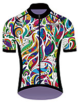 cheap -21Grams Men's Women's Short Sleeve Cycling Jersey 100% Polyester Black / Green Floral Botanical Bike Jersey Top Mountain Bike MTB Road Bike Cycling UV Resistant Breathable Quick Dry Sports Clothing