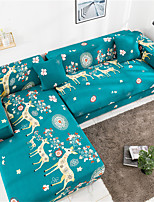 cheap -Green Cartoon Deer Print Dustproof All-powerful Slipcovers Stretch L Shape Sofa Cover Super Soft Fabric Couch Cover with One Free Pillow Case