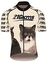 cheap -21Grams Men's Short Sleeve Cycling Jersey 100% Polyester Black / Orange Animal Bike Jersey Top Mountain Bike MTB Road Bike Cycling UV Resistant Breathable Quick Dry Sports Clothing Apparel / Stretchy