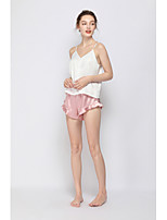 cheap -Women's Backless / Cut Out / Mesh Satin & Silk / Suits Nightwear Jacquard / Solid Colored White S M L