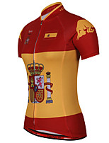 cheap -21Grams Women's Short Sleeve Cycling Jersey 100% Polyester Red / Yellow Spain National Flag Bike Jersey Top Mountain Bike MTB Road Bike Cycling UV Resistant Breathable Quick Dry Sports Clothing