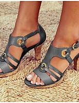 cheap -Women's Sandals Chunky Heel Round Toe PU Summer Black / Brown / Green