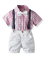 cheap -Kids Boys' Basic Birthday Party Party & Evening Plaid Short Sleeve Regular Regular Clothing Set Blushing Pink