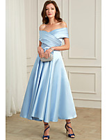 cheap -A-Line Off Shoulder Ankle Length Chiffon Sexy / Blue Cocktail Party / Wedding Guest Dress with Pleats 2020