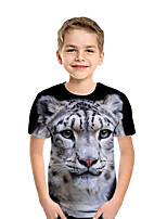 cheap -Kids Boys' Active Street chic Patchwork Animal Print Short Sleeve Tee Black