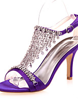 cheap -Women's Wedding Shoes Stiletto Heel Open Toe Rhinestone Satin Classic Spring & Summer Black / White / Purple / Party & Evening
