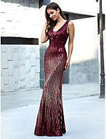 cheap -Mermaid / Trumpet V Neck Floor Length Polyester / Sequined Sparkle / Red Wedding Guest / Formal Evening Dress with Sequin 2020
