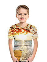 cheap -Kids Boys' Active Street chic Print Patchwork Print Short Sleeve Tee Gold