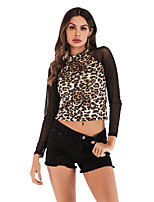 cheap -Women's Daily Going out Basic / Street chic T-shirt - Leopard Khaki