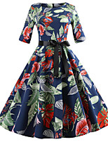 cheap -Women's Blue Dress Vintage Style Street chic Party Daily Swing Floral Print Patchwork Print S M / Cotton