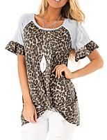 cheap -Women's Daily T-shirt - Leopard Wine