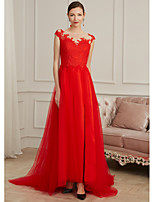 cheap -Sheath / Column Illusion Neck Sweep / Brush Train Lace / Tulle Elegant / Red Engagement / Formal Evening Dress with Appliques / Split 2020
