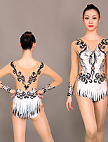cheap -Rhythmic Gymnastics Leotards Artistic Gymnastics Leotards Women's Girls' Leotard Black / White Spandex High Elasticity Handmade Jeweled Diamond Look Long Sleeve Competition Dance Rhythmic Gymnastics
