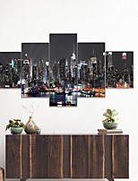 cheap -AMJ Hot Sale City Night Scenery Pentagram Living Room Sofa Background Wall Decoration Canvas Picture Frameless Core