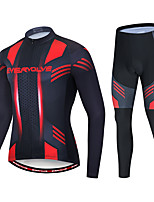 cheap -EVERVOLVE Men's Long Sleeve Cycling Jersey with Tights Polyester Black / Red Geometic Bike Clothing Suit Thermal / Warm Breathable 3D Pad Quick Dry Sweat-wicking Sports Solid Color Mountain Bike MTB