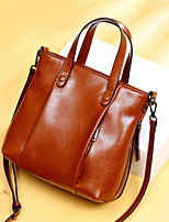 cheap -Women's Zipper Cowhide Top Handle Bag Solid Color Black / Brown