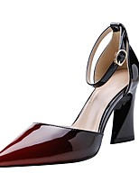 cheap -Women's Heels Sculptural Heel Pointed Toe PU Spring & Summer Black / Burgundy / Blue