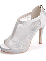 cheap -Women's Wedding Shoes Mesh Stiletto Heel Peep Toe Lace Classic Spring & Summer Red / White / Ivory / Party & Evening