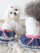 cheap -Dog Costume Dress Dog Clothes Breathable White Costume Beagle Bichon Frise Chihuahua Jeans Polka Dot Voiles & Sheers Bowknot Casual / Sporty Cute XS S M L XL