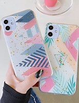 cheap -Case For Apple iPhone 11 11 Pro 11 Pro Max New Green leaf pattern glitter powder epoxy glue ring bracket thickened TPU all-inclusive mobile phone case
