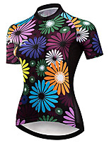 cheap -21Grams Women's Short Sleeve Cycling Jersey 100% Polyester Purple Floral Botanical Bike Jersey Top Mountain Bike MTB Road Bike Cycling UV Resistant Breathable Quick Dry Sports Clothing Apparel