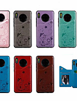 cheap -Case For Huawei Mate 30 Card Holder / Shockproof / Pattern Back Cover Cartoon PU Leather