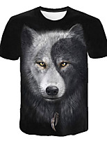 cheap -Kids Boys' Basic Street chic Dog Color Block 3D Animal Print Short Sleeve Tee Black