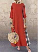 cheap -Women's Loose Dress - Color Block Maxi Yellow Orange Navy Blue M L XL XXL