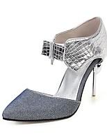 cheap -Women's Sandals Stiletto Heel Pointed Toe PU Vintage / Minimalism Summer Black / Silver / Color Block