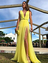 cheap -Women's Maxi Yellow Dress Swing Solid Color Deep V S M