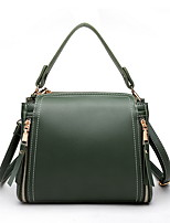 cheap -Women's Zipper PU Top Handle Bag Solid Color Black / Red / Green