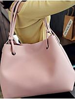 Недорогие -Жен. PU Сумка с верхней ручкой Сплошной цвет Комплект поставки 2 шт. Розовый / Темно-серый / Черный