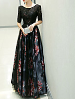 cheap -A-Line Jewel Neck Floor Length Polyester Floral / Black Formal Evening / Wedding Guest Dress with Pattern / Print 2020