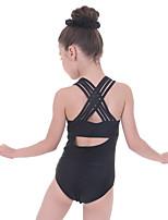 cheap -Gymnastics Leotards Girls' Kids Leotard Spandex Micro-elastic Breathable Sleeveless Training Ballet Dance Gymnastics Black