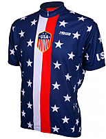 cheap -21Grams Men's Short Sleeve Cycling Jersey 100% Polyester Red+Blue American / USA Stars National Flag Bike Jersey Top Mountain Bike MTB Road Bike Cycling UV Resistant Breathable Quick Dry Sports