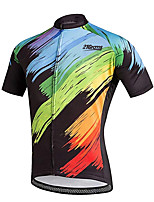 cheap -21Grams Men's Short Sleeve Cycling Jersey 100% Polyester Black / Blue Bike Jersey Top Mountain Bike MTB Road Bike Cycling UV Resistant Breathable Quick Dry Sports Clothing Apparel / Stretchy