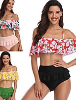cheap -Women's Audrey Hepburn Marilyn Monroe Vintage 1950s Bikini Swimsuit Monokini Polyster Printing Black Blushing Pink Top Shorts