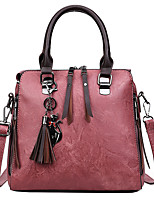cheap -Women's Zipper PU Top Handle Bag Solid Color Black / Brown / Blushing Pink