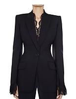 cheap -Women's Blazer, Solid Colored Notch Lapel Polyester Black / White