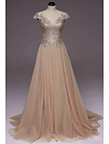 cheap -A-Line Illusion Neck Sweep / Brush Train Polyester Elegant / Luxurious Engagement / Prom Dress with Pleats / Appliques 2020