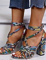cheap -Women's Sandals Chunky Heel Open Toe PU Summer Blue