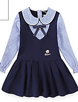 cheap -Kids Girls' Striped Dress Navy Blue