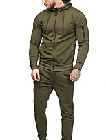 cheap -Men's Tracksuit Winter Zipper Drawstring Color Block Black Dark Grey ArmyGreen Cotton Yoga Fitness Gym Workout Clothing Suit Long Sleeve Sport Activewear Thermal / Warm Breathable Quick Dry