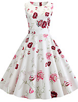 cheap -Women's White Dress Vintage Style Street chic Party Daily Swing Floral Print Patchwork Print S M / Cotton