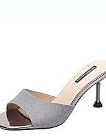 cheap -Women's Sandals Stiletto Heel Peep Toe PU Summer Champagne / Light Grey