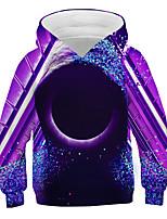 cheap -Kids Boys' Basic Street chic Color Block 3D Print Long Sleeve Hoodie & Sweatshirt Purple